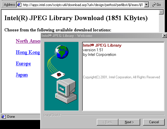 A screen capture of the library being instaled on a Windows system.