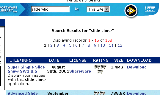 A screen capture of a web search looking for slideshow software. This particular site says it has found 168 pieces of shareware/freeward that fit the bill.