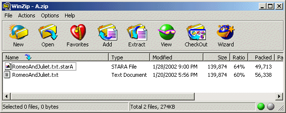 A screen capture of WinZip, showing the compression ratios of the original file and the file that has been preprocessed wtih the star algorithm. The compressed size of the former is 56,338 bytes, the latter 49,713 bytes.