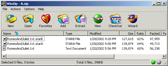 Another WinZip view. In this case, the compressed size of the file using the B variant of the start algorithm is compressed further to 47,959 bytes.