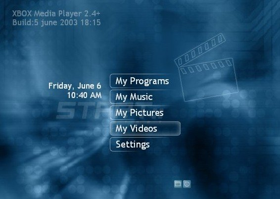The main menu of Xbox Media Player, showing selections for Programs, Music, Pictures, Videos, and Settings.
