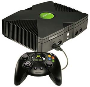 A product shot of the Microsoft Xbox.