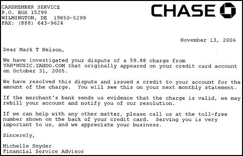 A screen capture of a paper letter from Chase card services refunding my disputed charges from Yahoo!