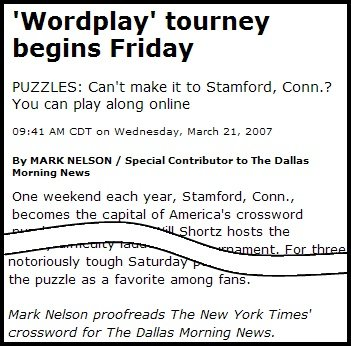 Wordplay article from Dallas Morning News, describing the annual crossword puzzle festival in Stamford, CT.