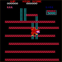 A screen capture of a Donkey Kong game in progress