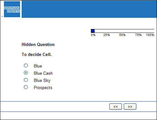 This screen cap from the survey has a field called 'Hidden Question' and another called 'To decide Cell'