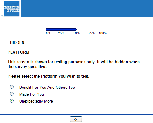 This creen capture has an obviously incorrect field labeled '--HIDDEN--', and anothe rline that says 'This screen is shown for testing purposes only. It will be hidden when the survey goes live'