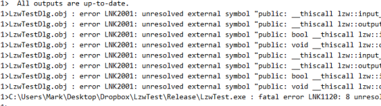 This graphic shows a list of linker errors that illustrate an initial problem with the streaming code.