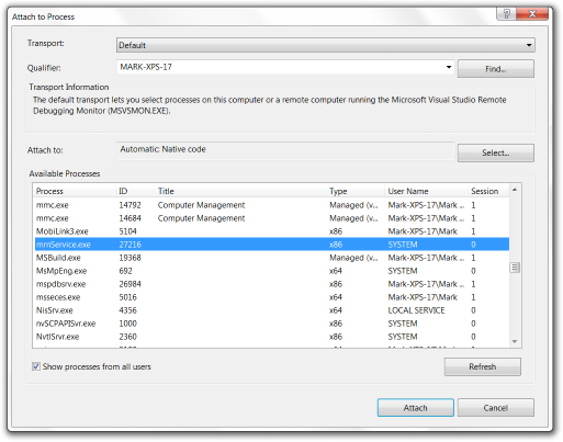 This graphic shows the 'Attach to Process' dialog from VisualStudio. It lists running processes on the system, including services, and the selected process is called 'mrnService.exe', the sample service created for this article.